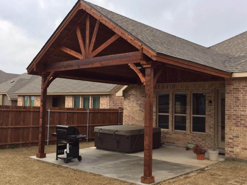 attached pergola over hot tub