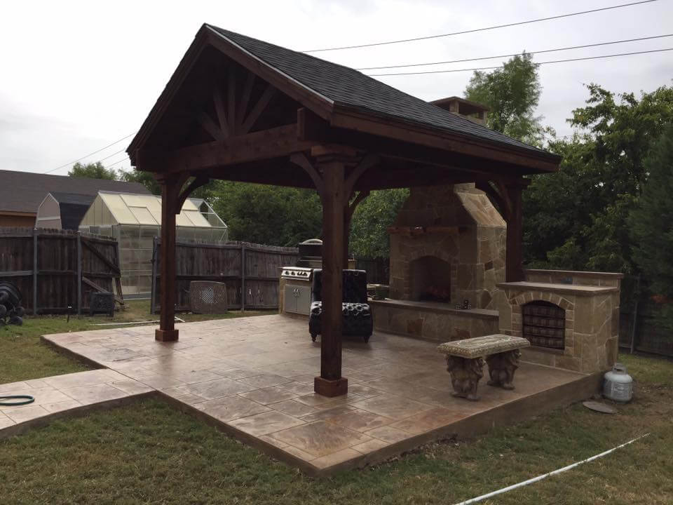 free standing pergola and fireplace