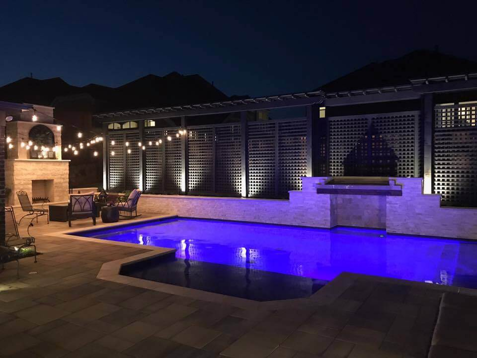 patio and pool at night
