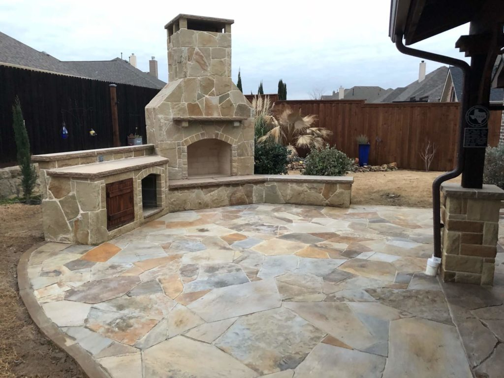 patio stonework and outdoor fireplace