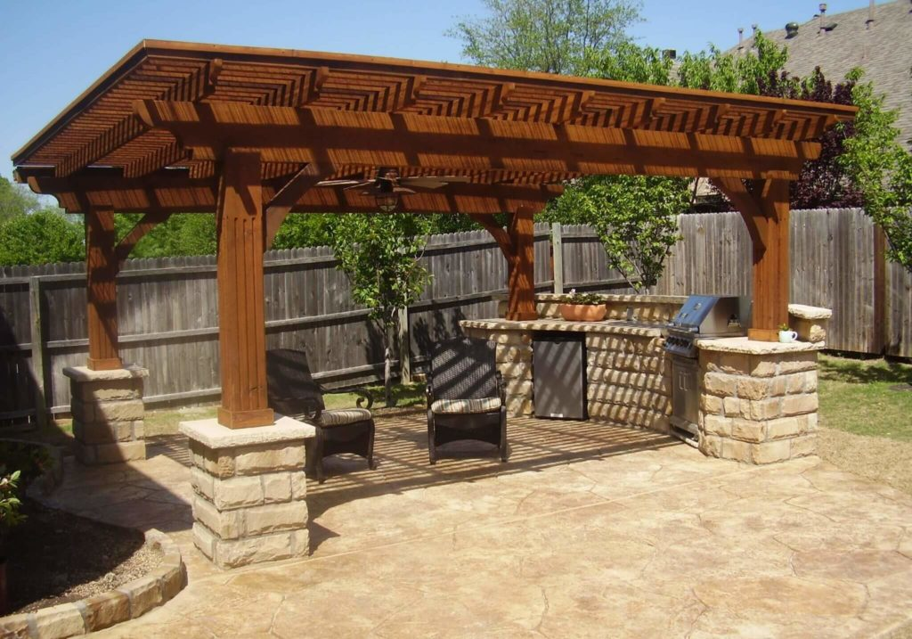 pergola and outdoor kitchen